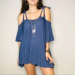 Anthro Noa Elle blue cold shoulder mini dress